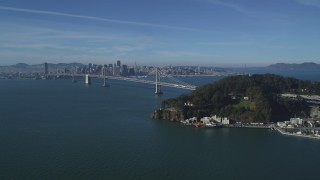 DCSF05_006 - 5K stock footage aerial video Flying by Yerba Buena Island, with a view of the Bay Bridge, San Francisco, California
