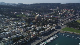 DCSF05_031 - 5K stock footage aerial video Approach Palace of Fine Arts from Yacht Harbor, San Francisco, California