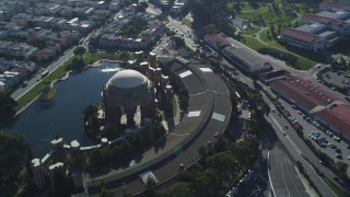 DCSF05_032 - 5K stock footage aerial video Orbiting the Palace of Fine Arts, San Francisco, California