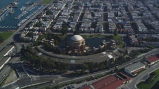 DCSF05_033 - 5K stock footage aerial video Orbit the Palace of Fine Arts, San Francisco, California