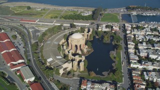 DCSF05_035 - 5K stock footage aerial video orbit of the Palace of Fine Arts in San Francisco, California