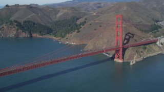 DCSF05_039 - 5K stock footage aerial video Flying by the Marin side of the Golden Gate Bridge, San Francisco, California