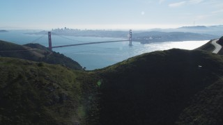 DCSF05_044 - 5K stock footage aerial video Golden Gate Bridge and downtown skyline seen from the Marin Headlands, Marin County, California