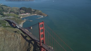 DCSF05_045 - 5K stock footage aerial video Bird's eye view of the north end of the Golden Gate Bridge, San Francisco, California