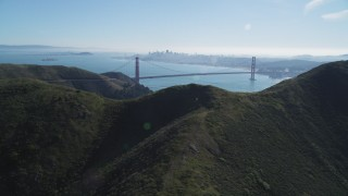 DCSF05_048 - 5K stock footage aerial video View of Golden Gate Bridge, San Francisco Bay, and downtown skyline, Marin Headlands, California