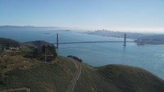 DCSF05_049 - 5K stock footage aerial video The Golden Gate Bridge, San Francisco Bay, and San Francisco skyline, seen from Marin Headlands, California