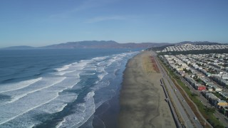 DCSF05_054 - 5K stock footage aerial video Waves rolling in toward Ocean Beach, Outer Sunset District, San Francisco, California