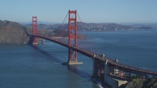 DCSF05_063 - 5K stock footage aerial video Approaching the Golden Gate Bridge with light traffic, San Francisco Bay, San Francisco, California