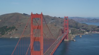 DCSF05_065 - 5K stock footage aerial video Fly by Golden Gate Bridge with Marin Headlands in the background, San Francisco Bay, California