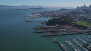 DCSF05_066 - 5K stock footage aerial video Yacht Harbor, Marina Green, Fort Mason in Marina District, San Francisco, California