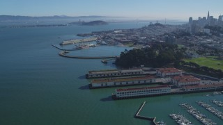 DCSF05_067 - 5K stock footage aerial video Fly over Fort Mason, Aquatic Park Pier, approach Fisherman's Wharf, San Francisco, California