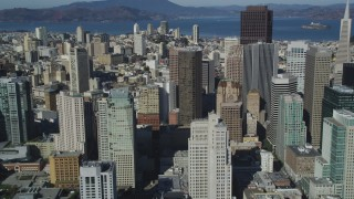 DCSF05_073 - 5K stock footage aerial video Flying by Financial District skyscrapers, Downtown San Francisco, California
