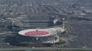 DCSF05_083 - 5K stock footage aerial video Flying by Oracle Arena and O.co Coliseum, Oakland, California