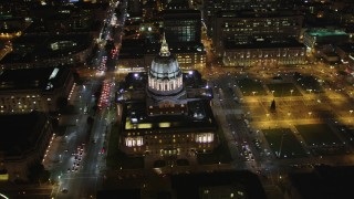 DCSF06_007 - 5K stock footage aerial video Flyby San Francisco City Hall, Civic Center, San Francisco, California, night