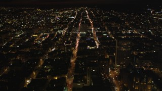 DCSF06_018 - 5k stock footage aerial video Flying over apartment buildings, Nob Hill, San Francisco, California, night