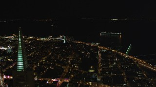 DCSF06_023 - 5K stock footage aerial video Flyby Transamerica Pyramid, approach Coit Tower, San Francisco, California, night