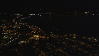 DCSF06_039 - 5K stock footage aerial video Approach and tilt to the Palace of Fine Arts, Marina District, San Francisco, California, night