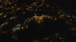 DCSF06_040 - 5K stock footage aerial video Bird's eye view of the Palace of Fine Arts, Marina District, San Francisco, California, night