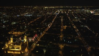 DCSF06_053 - 5K stock footage aerial video St. Ignatius Church, Fulton Street, Inner Richmond District, San Francisco, California, night