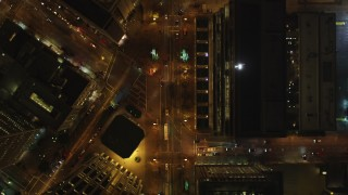 DCSF06_062 - 5K stock footage aerial video Bird's eye of Market Street, reveal ice skating at Justin Herman Plaza, Downtown San Francisco, California, night
