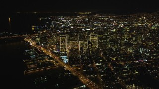 DCSF06_073 - 5K stock footage aerial video High altitude view of Downtown San Francisco at night seen from North Beach, California