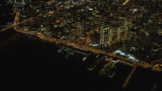 DCSF06_081 - 5K stock footage aerial video High altitude view of Ferry Building, Downtown San Francisco, California, night