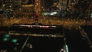 DCSF06_083 - 5K stock footage aerial video Ferry Building and The Embarcadero, Downtown San Francisco, California, night