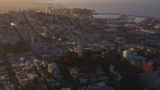 DCSF07_028 - 5K stock footage aerial video Orbit of Coit Tower, North Beach, San Francisco, California, sunset