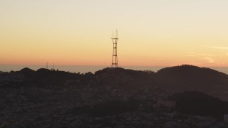 DCSF07_075 - Aerial stock footage of 5K Aerial Video A view of Sutro Tower, San Francisco, California, twilight