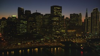 DCSF07_111 - Aerial stock footage of 5K Aerial Video Fly by downtown skyline and reveal Ferry Building, Downtown San Francisco, California, twilight