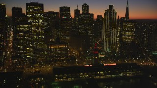 DCSF07_112 - Aerial stock footage of 5K Aerial Video Flyby Ferry Building and towering skyline of Downtown San Francisco, California, twilight