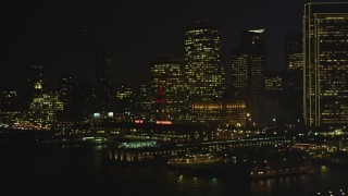 DCSF07_121 - Aerial stock footage of 5K Aerial Video Pan across Downtown San Francisco and reveal the Ferry Building, California, night