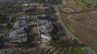 DCSF08_016 - Aerial stock footage of 5K Aerial Video Flying by Googleplex, Mountain View, California