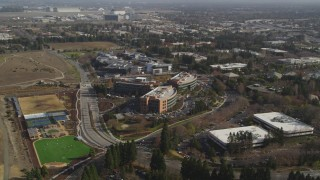 DCSF08_017 - Aerial stock footage of 5K Aerial Video Orbit office buildings by Googleplex, Mountain View, California