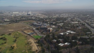 DCSF08_019 - Aerial stock footage of 5K Aerial Video Approaching Google office buildings and Googleplex, Mountain View, California