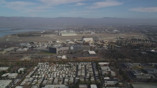 DCSF08_020 - Aerial stock footage of 5K Aerial Video Flyby Moffett Field and the NASA Ames Research Center, Mountain View, California