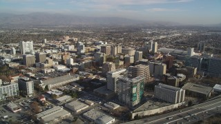 DCSF09_002 - Aerial stock footage of 5K Aerial Video Flying over high rises and buildings, Downtown San Jose, California