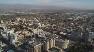 DCSF09_003 - Aerial stock footage of 5K Aerial Video Fly over high-rises to approach Interstate 280, Downtown San Jose, California