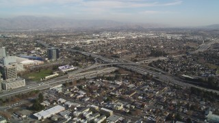 DCSF09_006 - Aerial stock footage of 5K Aerial Video of An orbit of a freeway interchange, San Jose, California