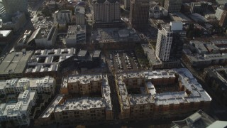 DCSF09_008 - Aerial stock footage of 5K Aerial Video Tilt from apartment buildings and fly over Downtown San Jose, California