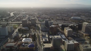 DCSF09_009 - Aerial stock footage of 5K Aerial Video Follow Park Avenue to Highway 87 in Downtown San Jose, California