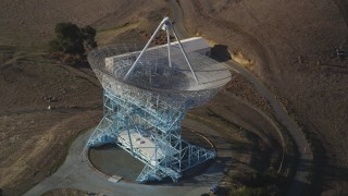 DCSF09_022 - Aerial stock footage of 5K Aerial Video Orbit The Dish, zoom out to wider view, Stanford Foothills, Stanford, California