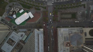 DCSF10_020 - Aerial stock footage of 5K Aerial Video Bird's eye view of Market Street, reveal Justin Herman Plaza and Ferry Buildings, Downtown San Francisco, California, sunset