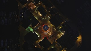 DCSF10_061 - Aerial stock footage of 5K Aerial Video Bird's eye view of shops at Pier 39, San Francisco, California, night