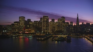 DCSF10_062 - Aerial stock footage of 5K Aerial Video Ferry Building and the skyline of Downtown San Francisco, California, twilight