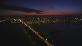 DCSF10_078 - Aerial stock footage of 5K Aerial Video of A view of the Bay Bridge and Downtown San Francisco, California, night