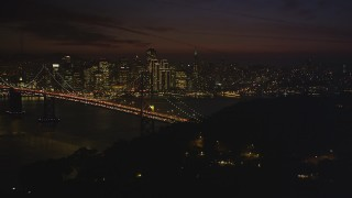 DCSF10_086 - Aerial stock footage of 5K Aerial Video of Downtown San Francisco skyline behind the Bay Bridge, seen from Yerba Buena Island, California, night