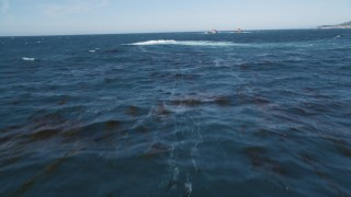 DCSF11_017 - Aerial stock footage of 5K Aerial Video Tilt from the water to reveal and fly over kelp in the Pacific Ocean and distant rock formations, Carmel, California