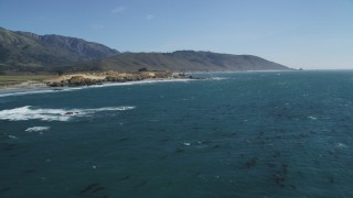 DCSF11_029 - Aerial stock footage of 5K Aerial Video Fly over kelp in Pacific Ocean near the coastline and tilt down to the water, Big Sur, California