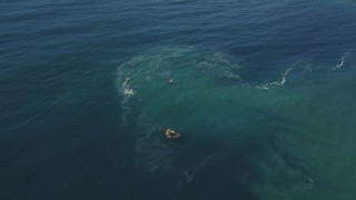 DCSF11_038 - Aerial stock footage of 5K Aerial Video Reverse view of the calm waters of the Pacific Ocean